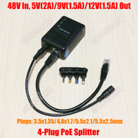 4 DC Plug 5V 9V 12V Adjust Network PoE Splitter Module Power Over Ethernet Supply 802