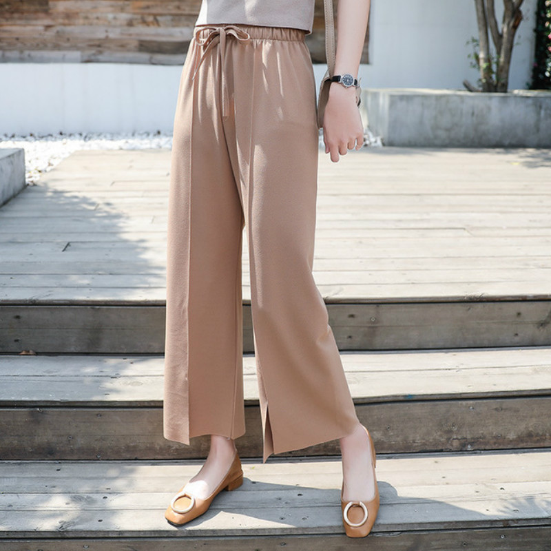 Wide leg pants female spring summer 2019 new Korean loose wild nine points straight pants split fork chiffon casual pants woman