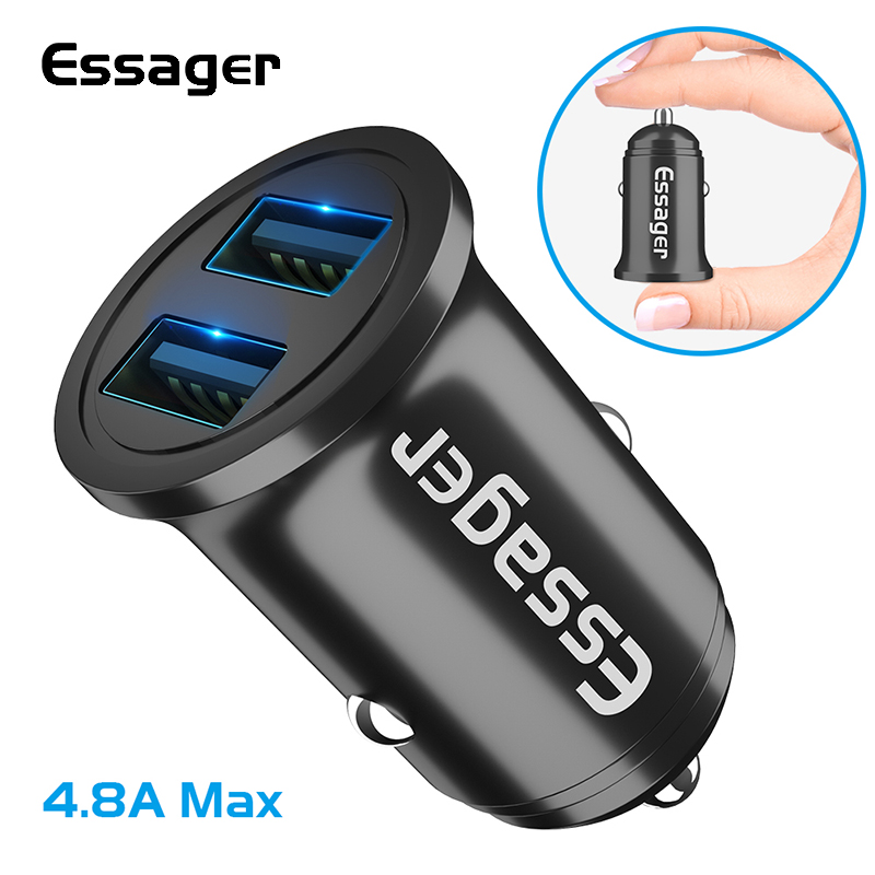 Essager Usb-Charger Mobile-Phone Lighter Huawei Dual-Usb Samsung Xiaomi For Car Led Fast