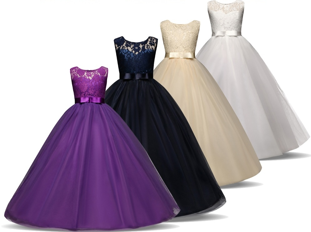 Princess Long Dress For Girl Kids Tulle Costume Clothing Children Ball Gown Evening Formal Wear Floral Lace Teenager 11 12 13 14 summer kids girls clothing dresses sleeveless lace girl princess costume dress children party wear tulle prom gown formal dress