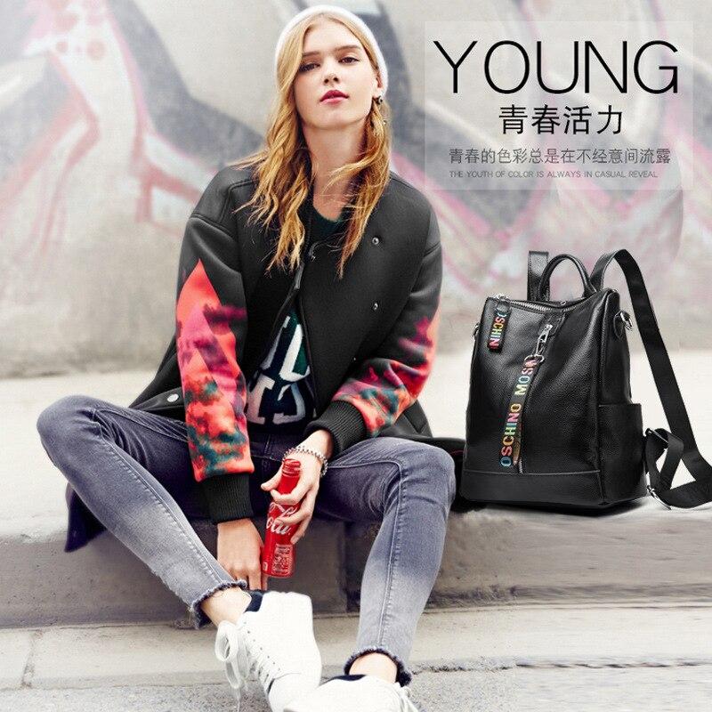 2019 Fashion Genuine Leather Backpack Female School Shoulder Bag Bagpack Women Leather Backpacks Schoolbags Travel Shoulder Bag in Backpacks from Luggage Bags