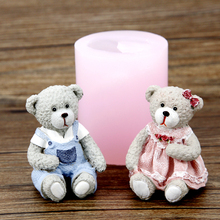 PRZY silicone mold fondant mould 3d Cute Bear couple chocolate mousse cake molds candle moulds resin clay