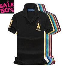 Eu Size 50% Off 2021 Spring Summer 100% mesh pique cotton big horse men 3 embroidery logo polo shirts fashion brand polo shirts