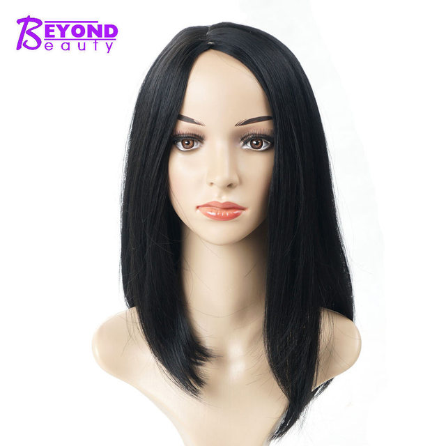 Short Heat Resistant Synthetic Straight Black Wigs For Women Side Part Bob  Natural Looking Shoulder Length Wigs Beyond Beauty 6bca39f7d5