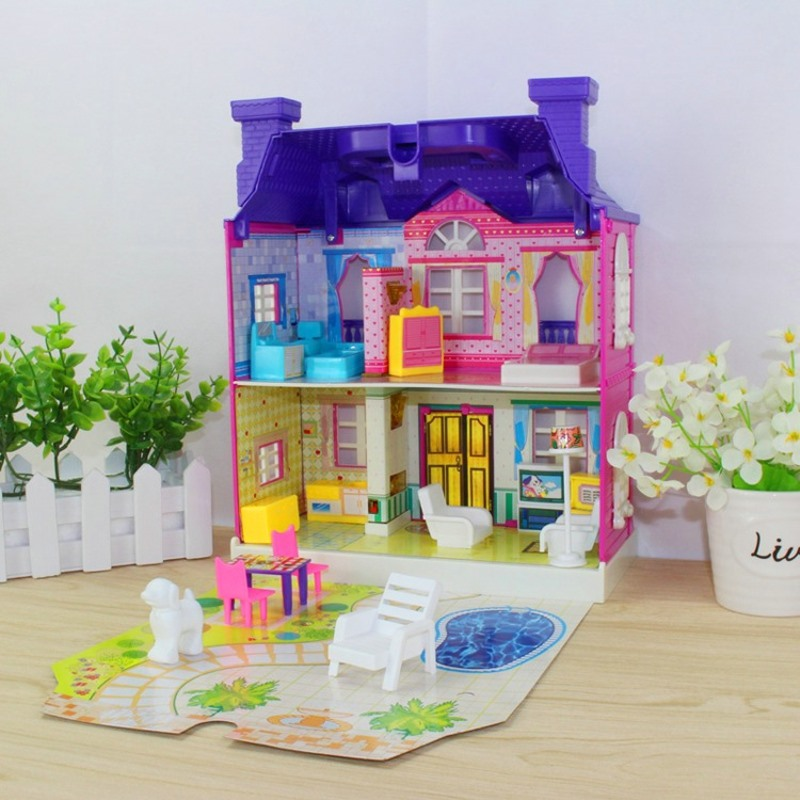 DIY Miniature Villa House Dollhouses Toys Happy Family Theme Princess Room Toy Suit Furniture Kits Girl Child Doll Gift Plastic