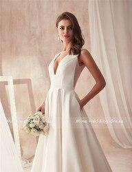 Famous Design Satin Wedding Dress with Pocket V-neck Cutout Side Open Back Bridal Dress Pocket vestido longo de festa 5