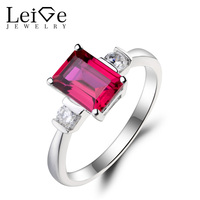 Leige Jewelry Red Ruby Ring Ruby Proposal Ring July Birthstone Emerald Cut Red Gemstone 925 Sterling Silver Gifts Romantic Gifts