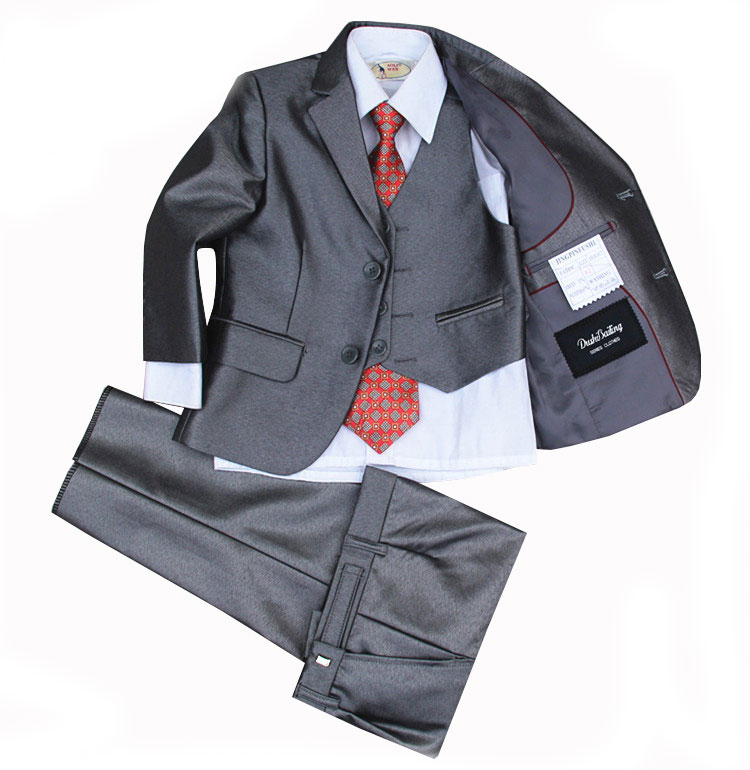 (Jackets+Vest+Pants+Tie+Cravat) Boy Suits Flower girl Slim Fit Tuxedo Brand Fashion Bridegroon Dress Wedding Grey Suit Blazer2