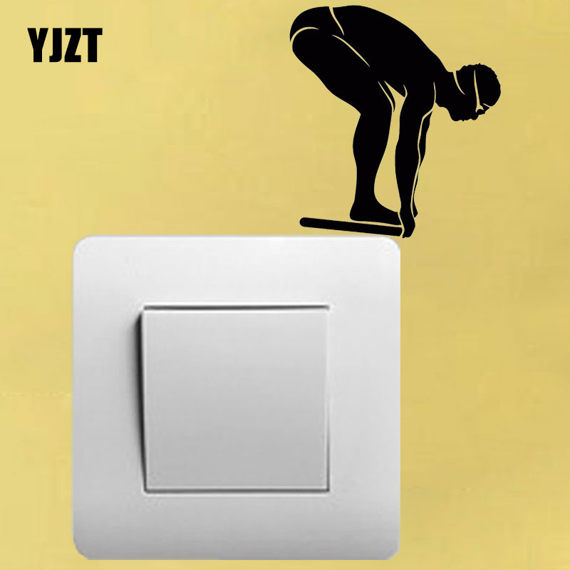 YJZT Nadador Esporte Aquático Piscina Quarto Decalque Da Parede Do Vinil Home Decor Etiqueta Switch 8SS2196 image