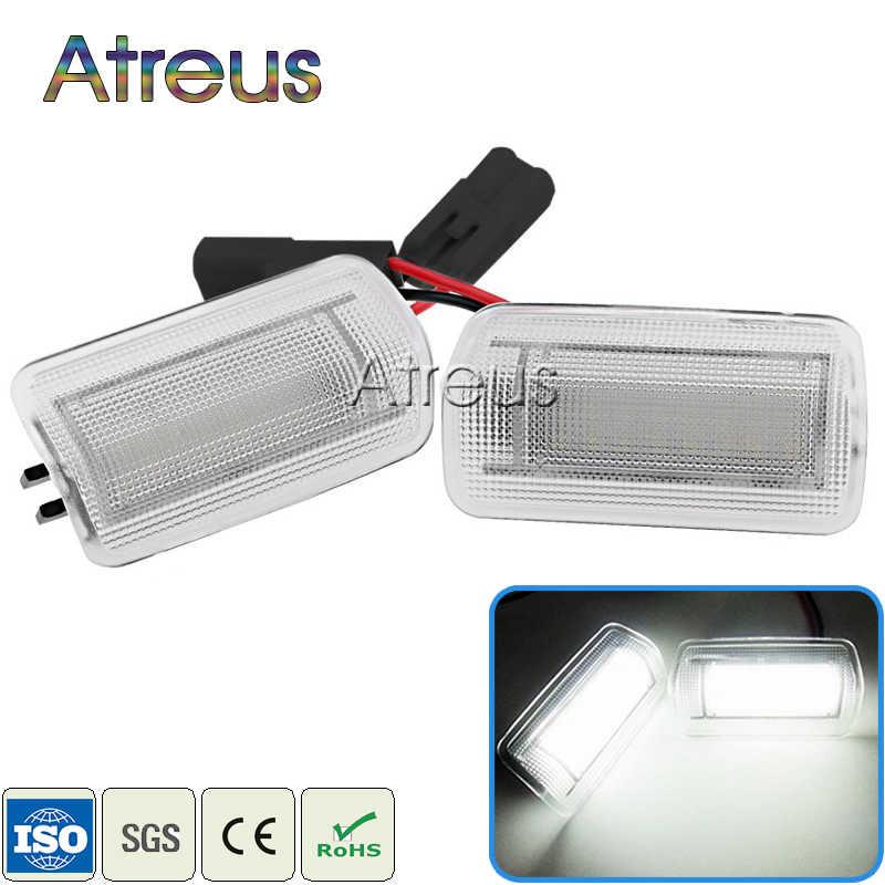 Atreus 2Xรถประตูยินดีต้อนรับไฟ12โวลต์สำหรับโตโยต้าคัมรี่คราวน์Priusสำหรับเล็กซัสIS250 RX350 LS430 LS460สีขาวSMD LEDมารยาทโคมไฟ