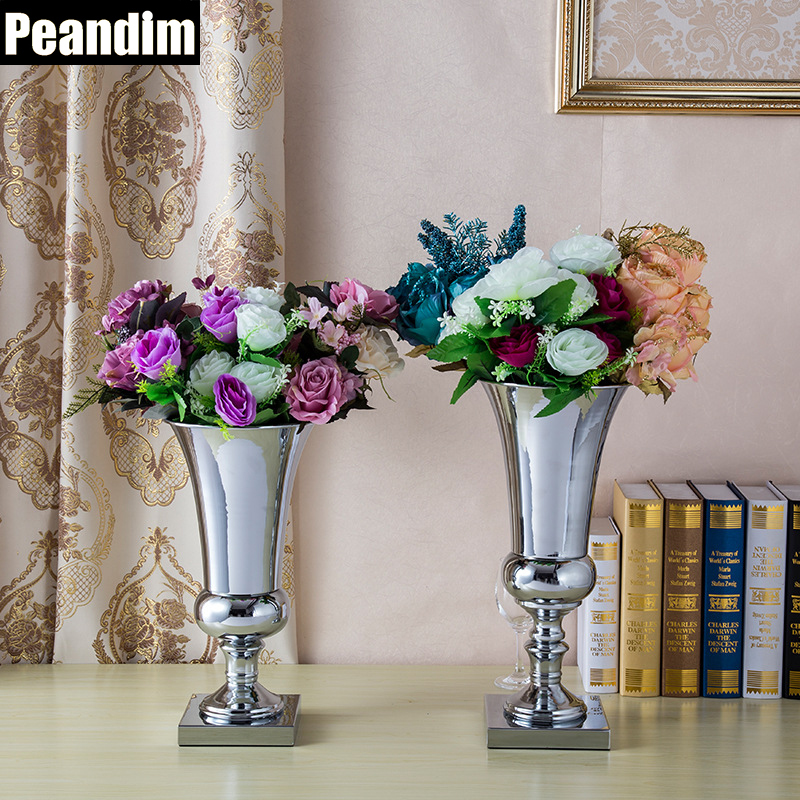 PEANDIM Shiny Silver Metal Candle Holder Celebration Party Decoration Wedding Flower Vase Strands Road Lead 40cm