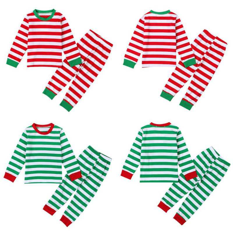 Baby Long Sleeves Kid Clothing Sleepwear Autumn Clothing Sets Striped Girl Christmas Boys Suits O-Neck 2 Kinds Pajamas