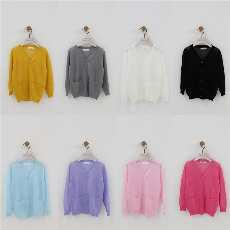 Girls Sweaters Korean Style Knit Cardigan Kids Clothing Summer Air Conditioner Clothes Candy Colors Toddler Girls Sweater New