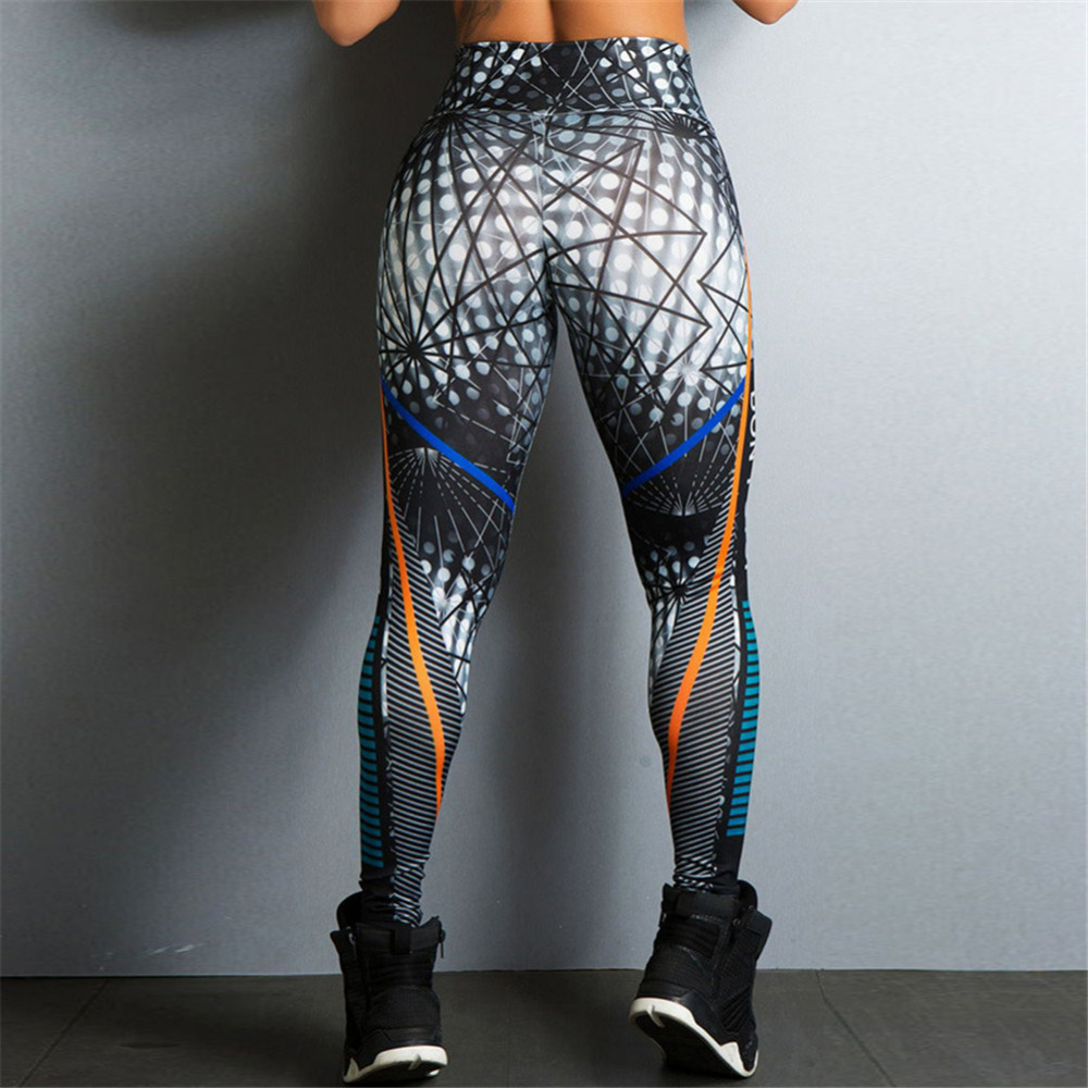 2018 Hayoha Geometric Lines Printing Leggings Put Hip Elastic High Waist Legging Breathable Slim Pants