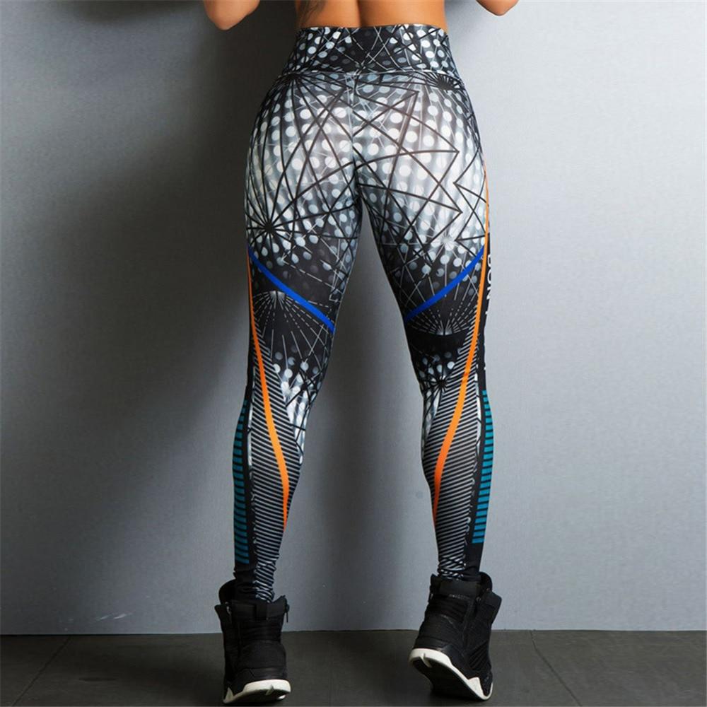 2018 Hayoha Geometric Lines Printing Leggings Put Hip Elastic High Waist Legging Breathable Slim Pants