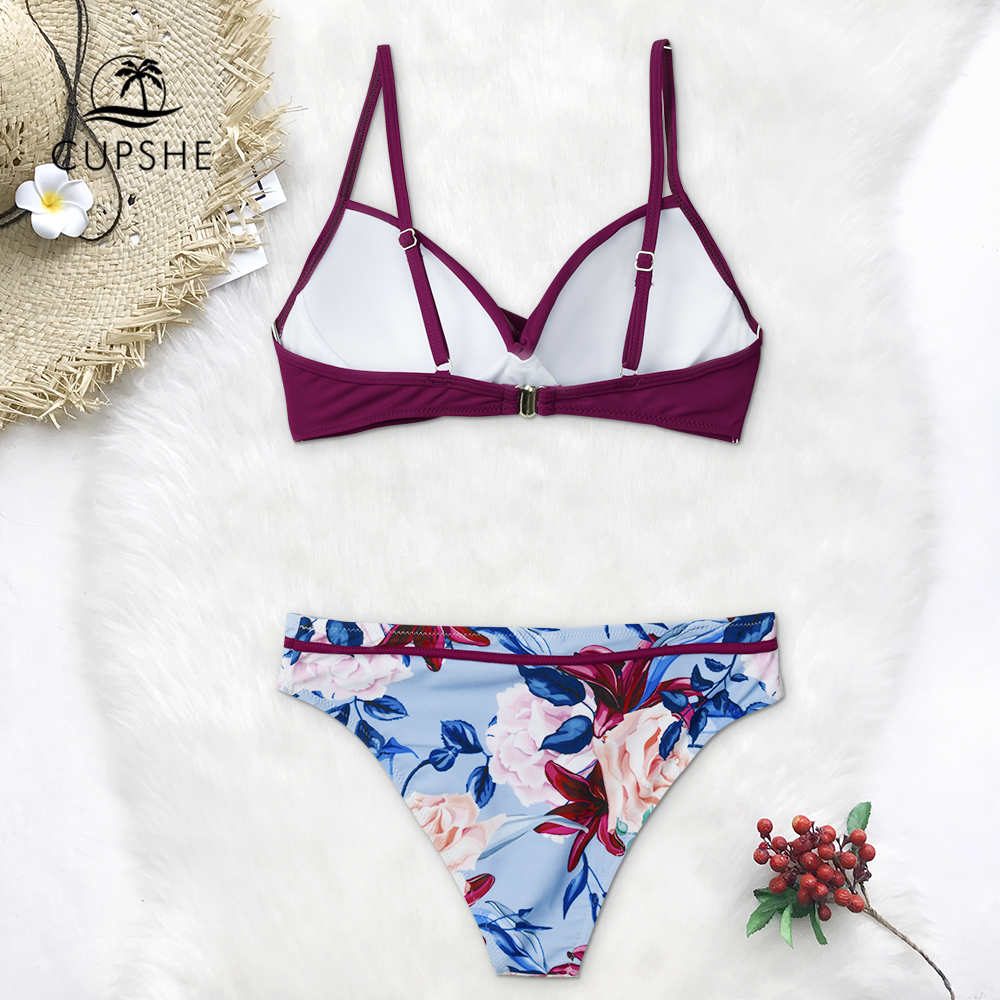 CUPSHE Push Up Floral Wrap Bikini Sets Women Sexy Thong Two Pieces Swimsuits 2020 Girl Beach Bathing Suits Swimwear 3