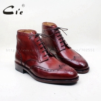 cie Round Full Brogues Lace up Hand Painted Wine 100%Genuine Calf Leather Outsole Breathable Spring/Autumn Men Boot GoodyearA147