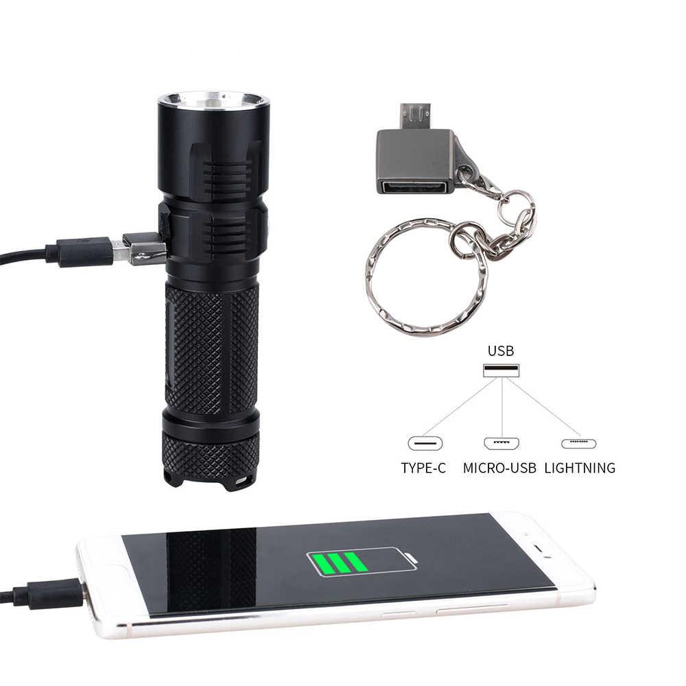 BORUiT BC10 XHP70.2 linterna LED 6-Mode USB cargador antorcha Max 3600LM banco de energía linterna para acampada lámpara por batería 26650