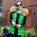 Hot 2017 Winter Long Vest Women Colete Feminino Faux Fur Hooded Cotton Padded Outerwear Gilet Veste Femme Waistcoat parka  WT95