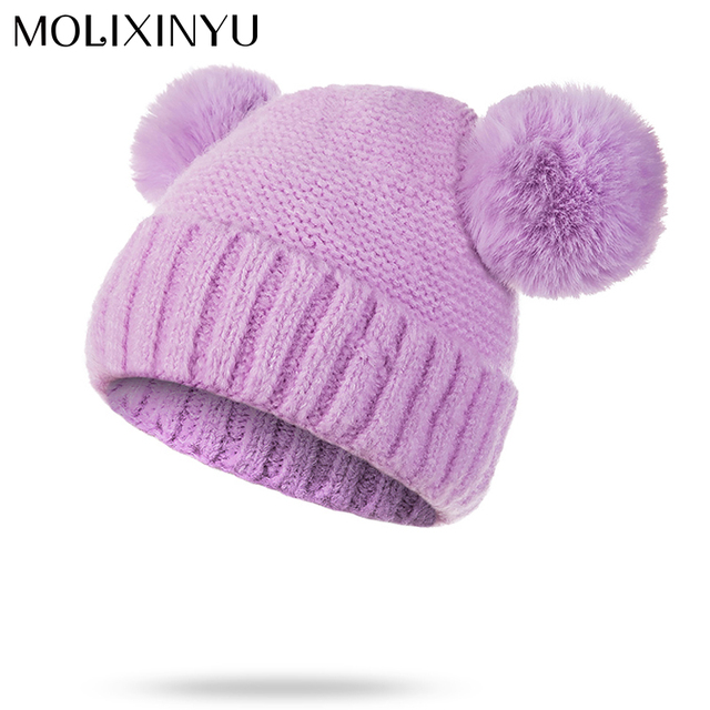 183ee7a5178 MOLIXINYU Baby Winter Hat Pom Poms Girls Boys Winter Warm Hat Children Cute  Beanie Hats Kids