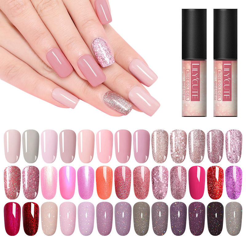 LILYCUTE 5 мл розовый золотистый гель Чистый цвет ногтей Блестящий гель для ногтей с блестками лак отмачиваемый блестящие, для дизайна ногтей маникюрный УФ-гель лак