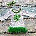 Девочки Святого Патрика малышей платья белый бутик платье с зеленый кружева рябить платье детей Сент-Патрикс день платье с оголовье
