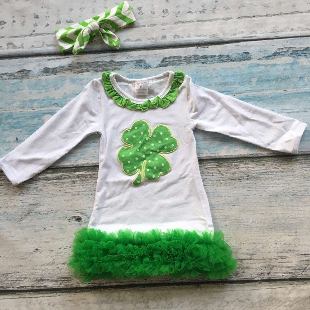Kid Toddler Baby Girls St.Patrick/'s Day Outfits 2pcs Green Dress Tops Ruffled Striped Leggings Pants Autumn Spring Set