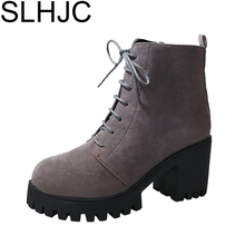 SLHJC 2017 Autumn Casual Boots Mid Calf Square Heel Side Zippers Martin Boots High Heels Leather Women 7.5 CM Heels Shoes D14