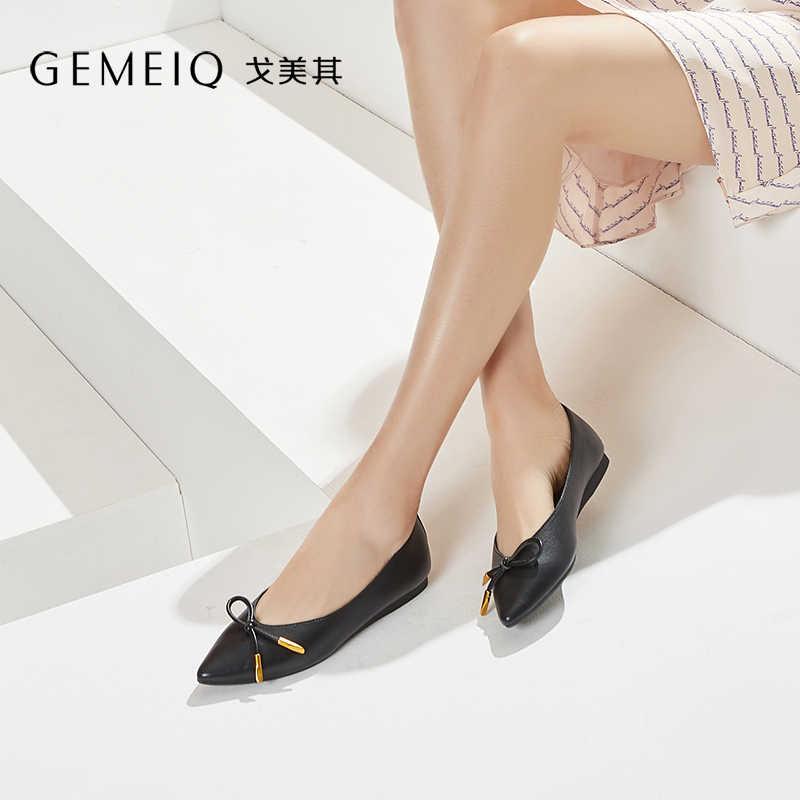 GEMEIQ 2019 Bahar Yeni Sığ sivri burun Yay Düğüm Düşük topuklu Çıplak ayakkabı Kadın Düz Ayakkabı Rahat rahat kadın Ayakkabı