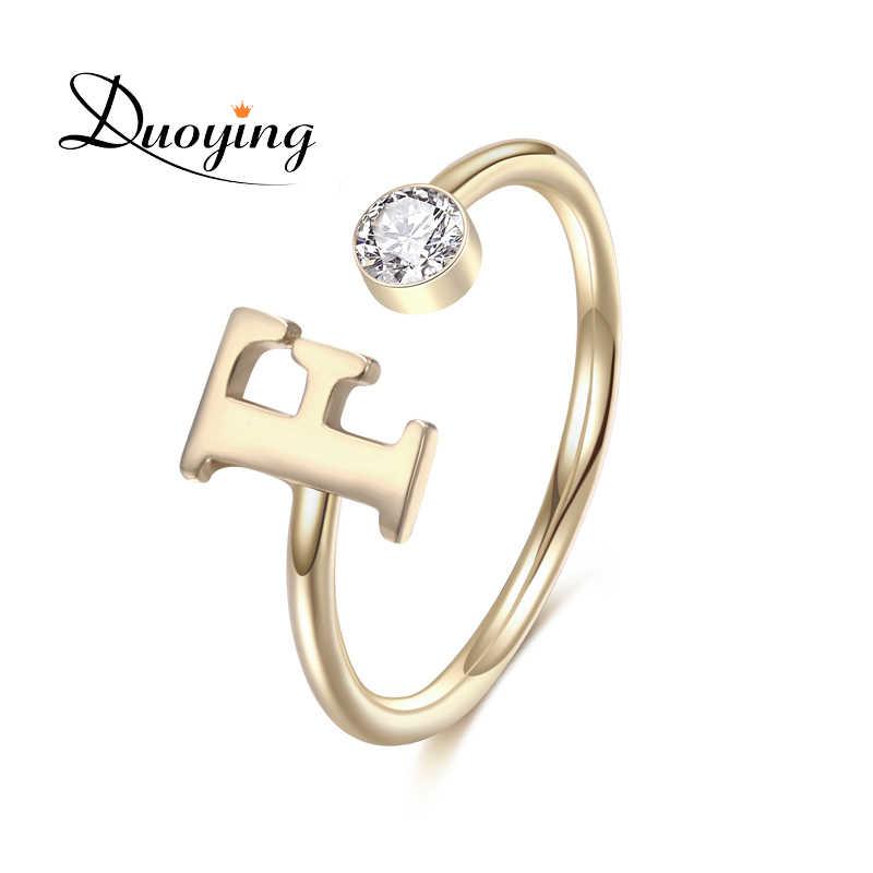 Duoying แหวนหมั้น Zirconia แหวนนิ้วมือผู้หญิงเครื่องประดับ Birthstone แหวนเปิดตัวอักษรผู้หญิงของขวัญ Vanlentine