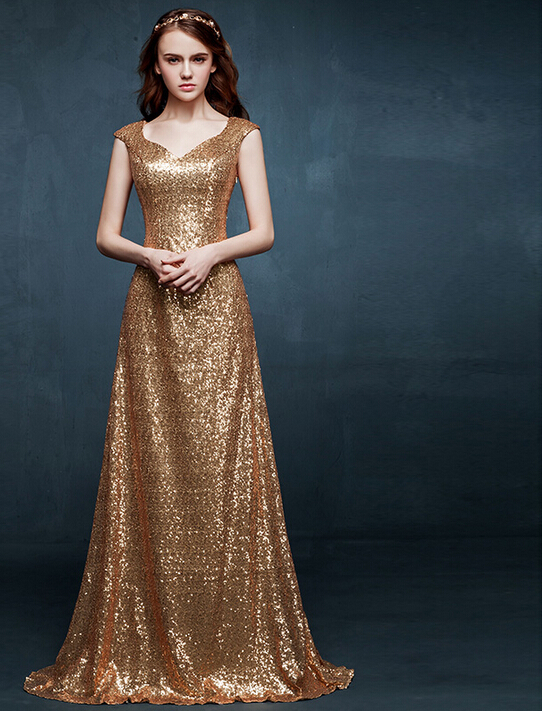 Short Tail Cap Sleeves Sheer Back Long Gold Sequin Metallic Evening ...