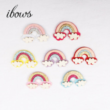 IBOWS New 7pcs/lot Felt Fabric Paillette Glitter Cloud Rainbow Appliques wedding DIY Sewing Patchs craft hair bow accessories