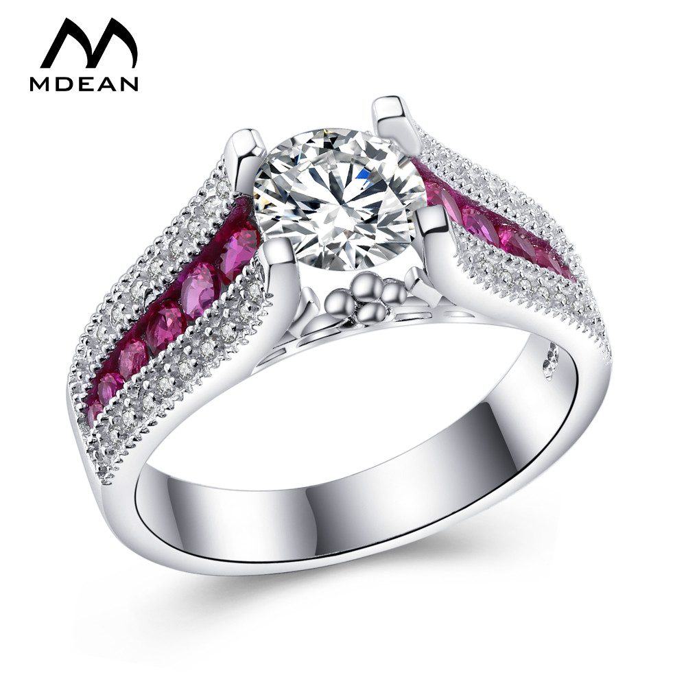 №MDEAN Pink Stone White Gold Color Wedding Rings For Women AAA ...