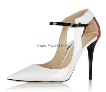 White Patent Leather And Anguine Grain Patchwork Pumps Pointed Toe Buckle Strap Thin High Heel Pumps Summer Ladies Dress Shoes