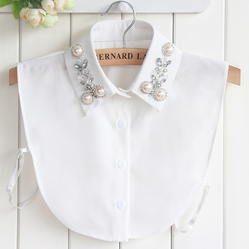 Womens False Collar Big Pearls Faux Cols Fake Collar Tie Chiffon Costume Decoration Female Crochet Detachable Collar Kraagie Nep