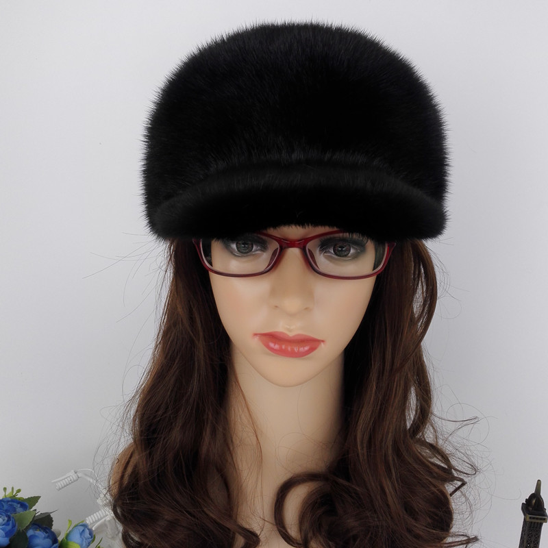 Luxury Handmade Russian Women Wholeskin Real Mink Fur Visor Hats Female  Winter Warm Caps Fashion Headgear LF4049-in Visors from Apparel Accessories  on ... 2fb9ce1d188