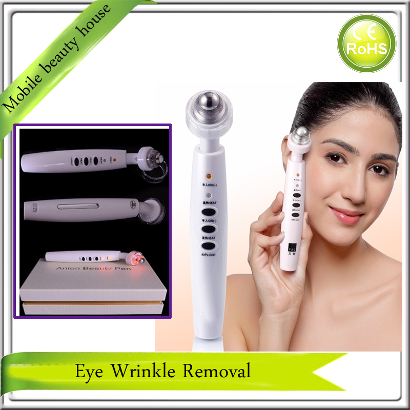 Electric Far Infrared Red Light Heating Skin Stimulation Collagen Tighten Anion Import Eye Wrinkle Pouch Removal Massager Pen free shipping new air pressure eye massager with mp3 6 functions dispel eye bags eye magnetic far infrared heating eye care