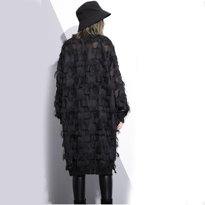 Stand Collar Long Sleeve Black Loose Dress 4