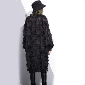 Image 4 - [EAM] 2020 Nuovo di Autunno della Molla Del Collare Del Basamento Manica Lunga Prospettiva Nero Allentato Nappe Grande Vestito Da Formato di Modo Delle Donne marea JI780