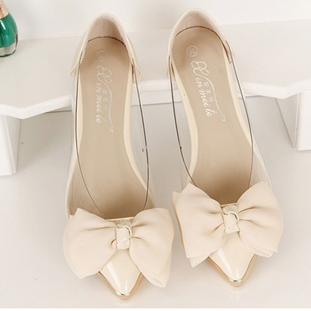Lady's Bowtie sweet comfortable leisure pointed toe flattie thin shoes dancing shoes in spring summer beige/white(4 TO 9)