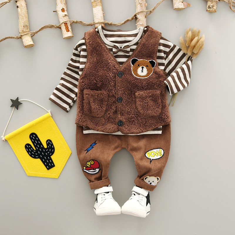 Baby Boy Clothes Brand winter Newborn Clothing Sets  T shirt +pant+Vest 3pcs set  Baby Gentleman Fashion Cartoon bear baby boys 2pcs set baby clothes set boy
