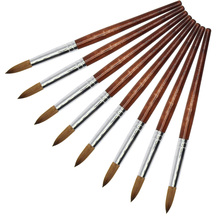 Eval 8# Sable Paint Brush Nail Tool Acrylic Nail Brush Kolinsky UV Gel Acrylic Nail Art Tool wholesale 5pcs 100% kolinsky sable 16 pen red wood acrylic brush for nail art nail art manicure tool acrylic nail brushes