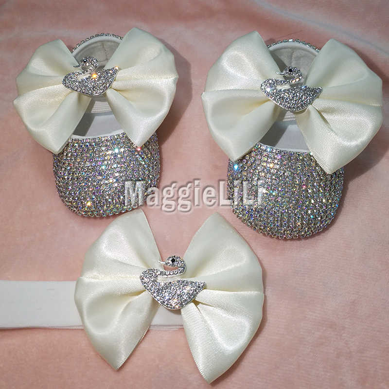 4896cb266dde bowknot Custom Sparkle Bling crystals AB Rhinestones Baby girls shoes infant  0-1Y ribbon shoes