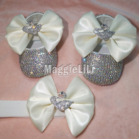 bowknot Custom Sparkle Bling crystals AB Rhinestones Baby girls shoes infant 0 1Y ribbon shoes First Walkers hairband 5276