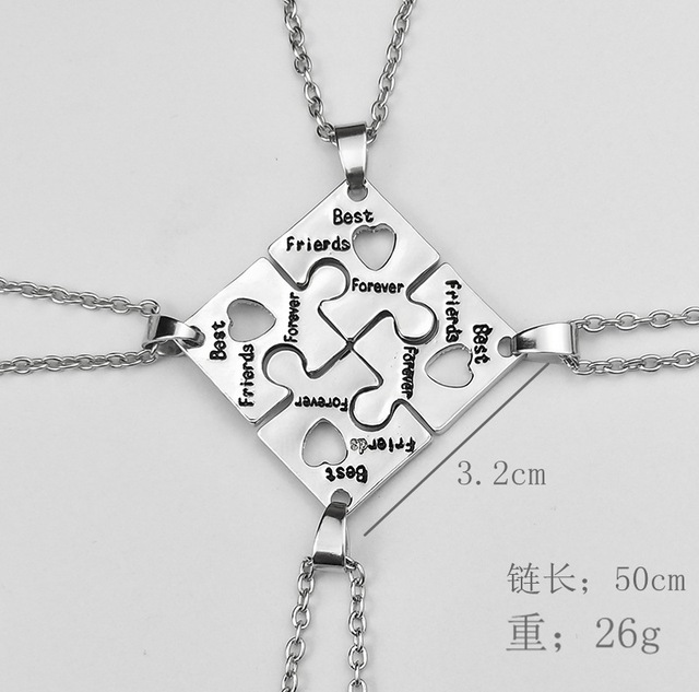 BFF Necklaces For 4 best friends forever Puzzle charm Necklace women Friendship Necklace Bestfriend Family Jewelry Gift women