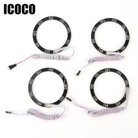 ICOCO 42 Leds RGB 90mm 5050 SMD Headlight LED Halo Rings Light Angel Eye Super Bright and Flash 16 color of Light 4 Pieces 12V
