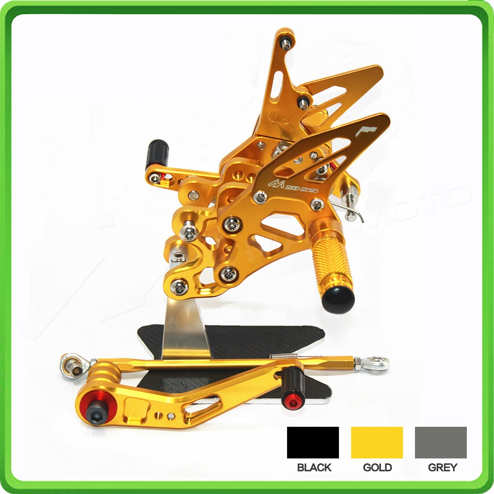 Adjustable Rearsets rear set sets footrest foot pegs for SUZUKI GSX-R 600/750 2006 2007 2008 2009 2010 GSXR600 GSXR750 Gold