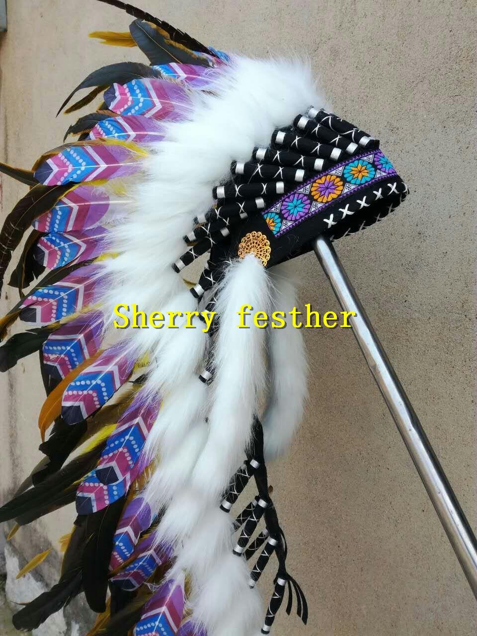28inch 오렌지 깃털 머리 장식 머리띠 할로윈 깃털 모자 의상 파티 의상-에서깃털부터 홈 & 가든 의  그룹 3