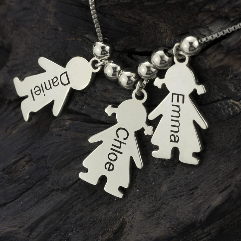 Womens Custom Name Necklace Silver Chain Engraved Kids Charms Necklaces Costume Girl Boy Charm Choker to Mom Stranger Things