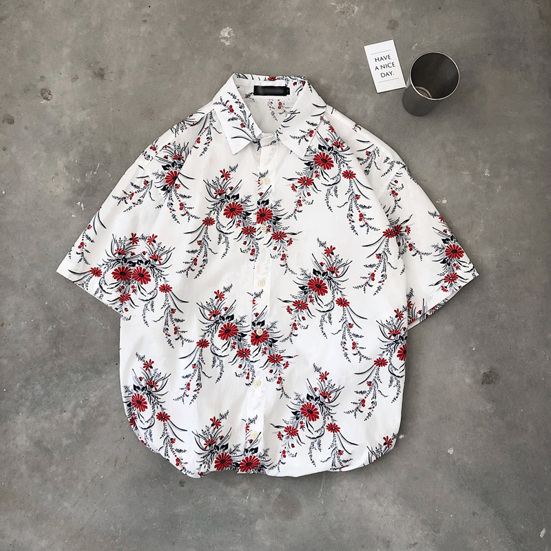 Hot Sale Mens Shirts Flower Printing Man 39 s Shirts Summer Casual Blue White M 2XL Men Shirt Short Sleeve in Casual Shirts from Men 39 s Clothing